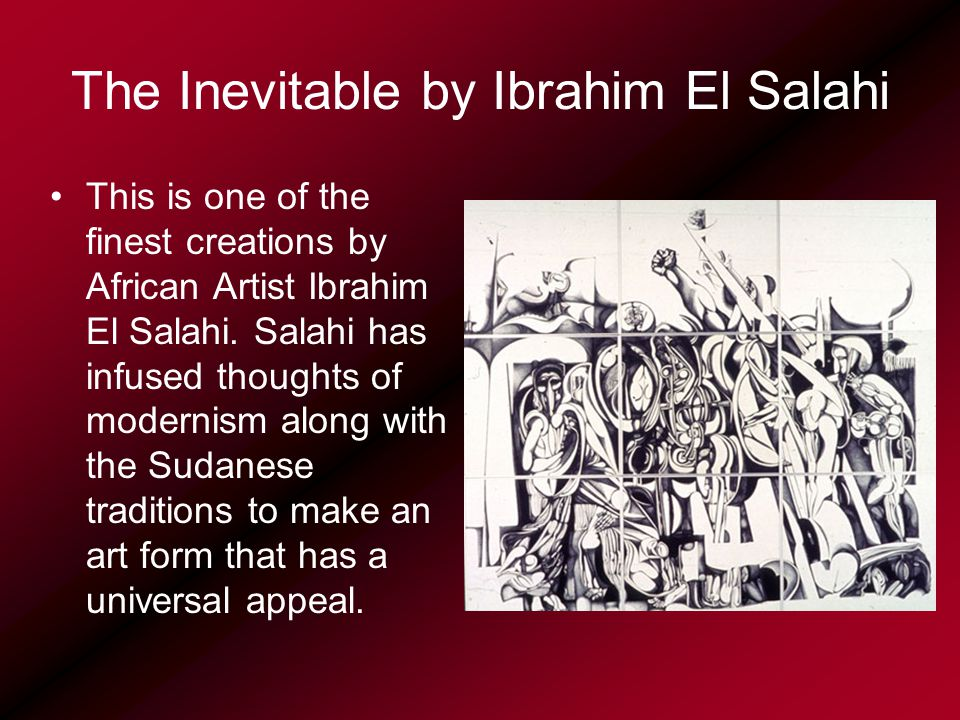 The Inevitable by Ibrahim El Salahi This is one of the finest creations by African Artist Ibrahim El Salahi.