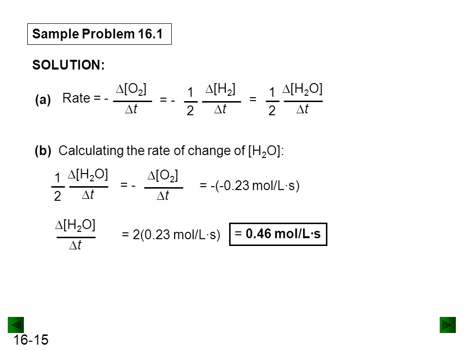 16-15 Sample Problem 16.1 SOLUTION: (a)=  [H 2 O]  t 1212 Rate = -  [O 2 ]  t = -  [H 2 ]  t 1212 (b) Calculating the rate of change of [H 2 O]: = -  [H 2 O]  t 1212  [O 2 ]  t = -(-0.23 mol/L·s) = 2(0.23 mol/L·s)  [H 2 O]  t = 0.46 mol/L·s