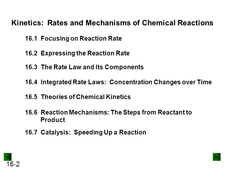 16-2 Kinetics: Rates and Mechanisms of Chemical Reactions 16.1 Focusing on Reaction Rate 16.2 Expressing the Reaction Rate 16.3 The Rate Law and Its Components 16.4 Integrated Rate Laws: Concentration Changes over Time 16.7 Catalysis: Speeding Up a Reaction 16.5 Theories of Chemical Kinetics 16.6 Reaction Mechanisms: The Steps from Reactant to Product