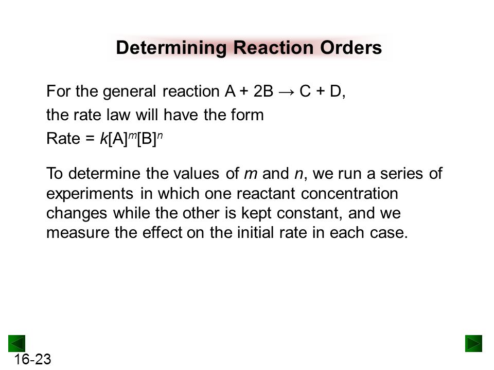 16-23 Determining Reaction Orders For the general reaction A + 2B → C + D, the rate law will have the form Rate = k[A] m [B] n To determine the values of m and n, we run a series of experiments in which one reactant concentration changes while the other is kept constant, and we measure the effect on the initial rate in each case.