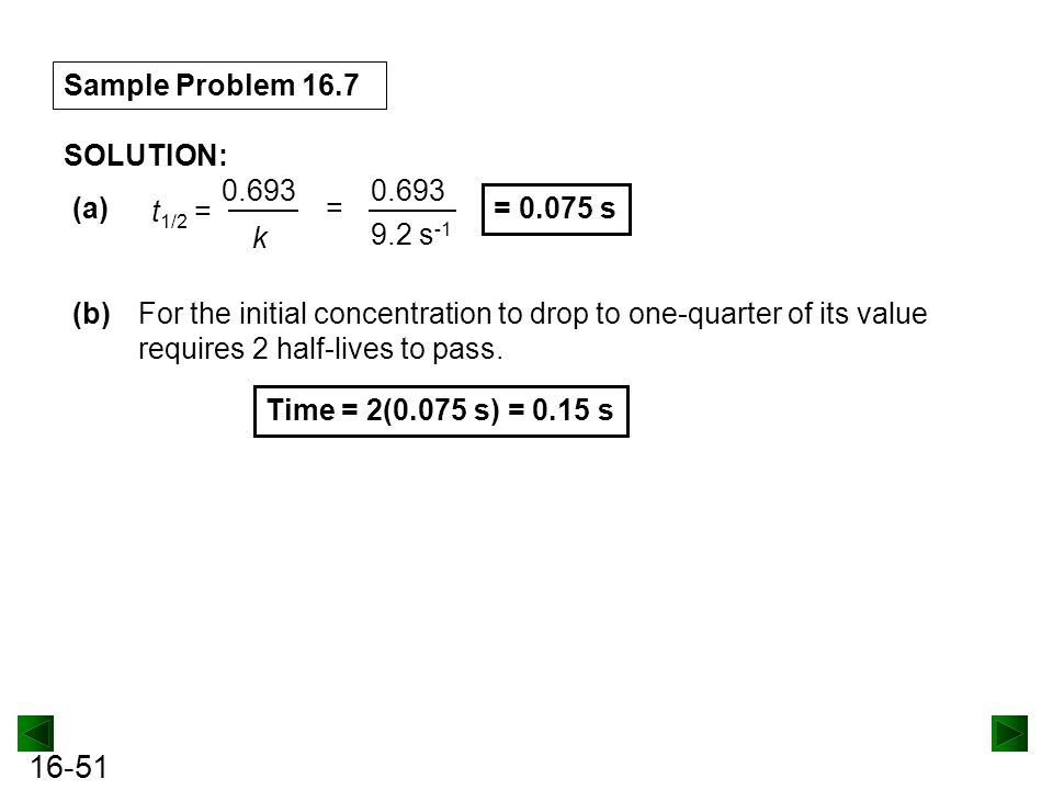 16-51 Sample Problem 16.7 SOLUTION: (b)For the initial concentration to drop to one-quarter of its value requires 2 half-lives to pass.
