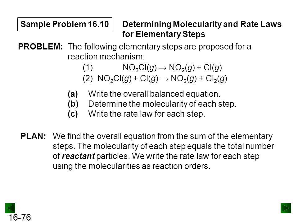 16-76 Sample Problem 16.10 Determining Molecularity and Rate Laws for Elementary Steps PROBLEM:The following elementary steps are proposed for a reaction mechanism: (1) NO 2 Cl(g) → NO 2 (g) + Cl(g) (2) NO 2 Cl(g) + Cl(g) → NO 2 (g) + Cl 2 (g) (a)Write the overall balanced equation.