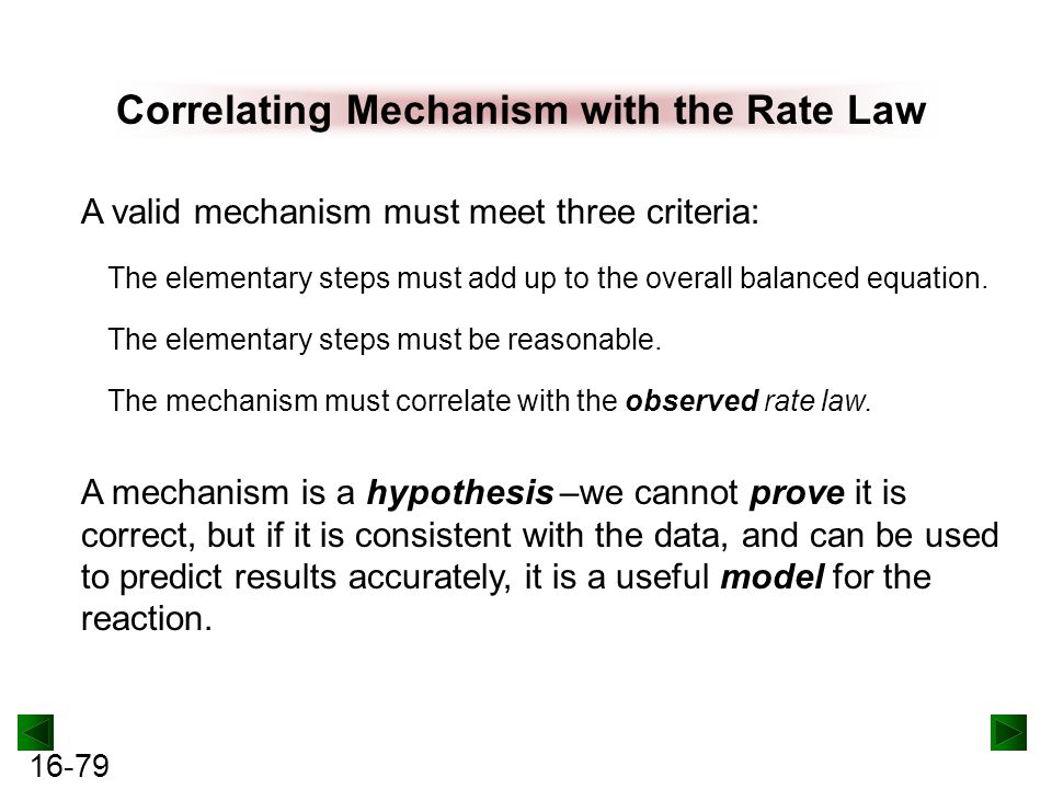 16-79 Correlating Mechanism with the Rate Law A valid mechanism must meet three criteria: The elementary steps must add up to the overall balanced equation.