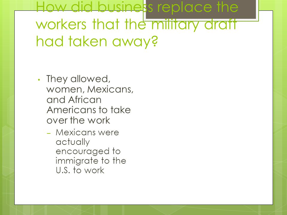 How did business replace the workers that the military draft had taken away.