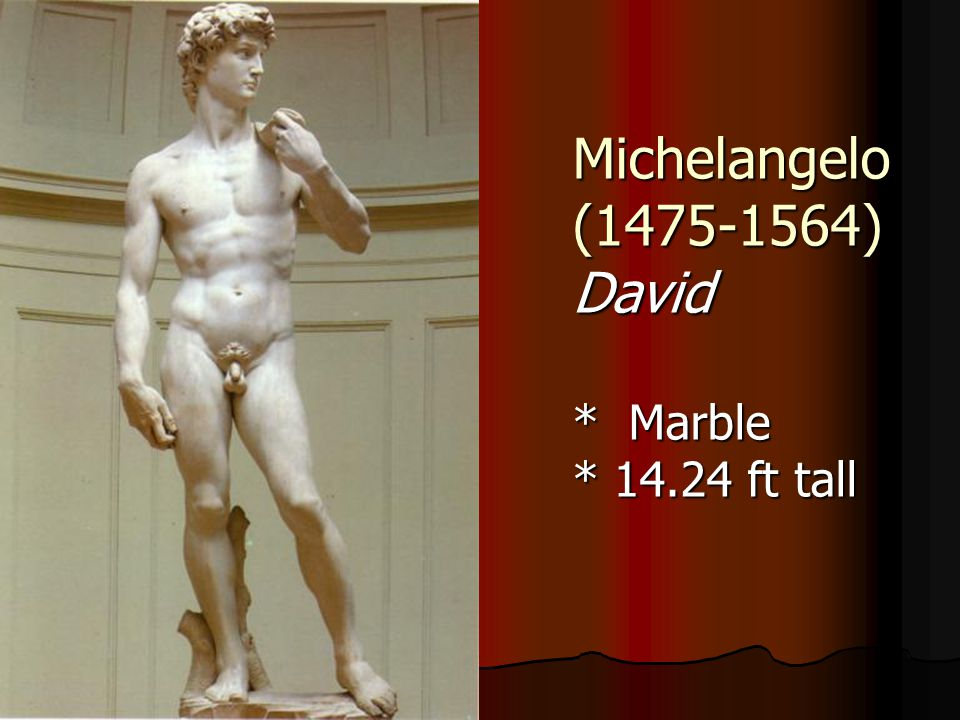 Michelangelo (1475-1564) David * Marble * 14.24 ft tall
