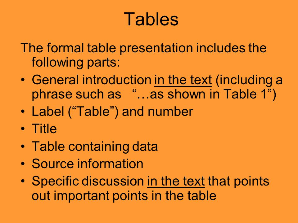 "Tables The formal table presentation includes the following parts: General introduction in the text (including a phrase such as ""…as shown in Table 1"""