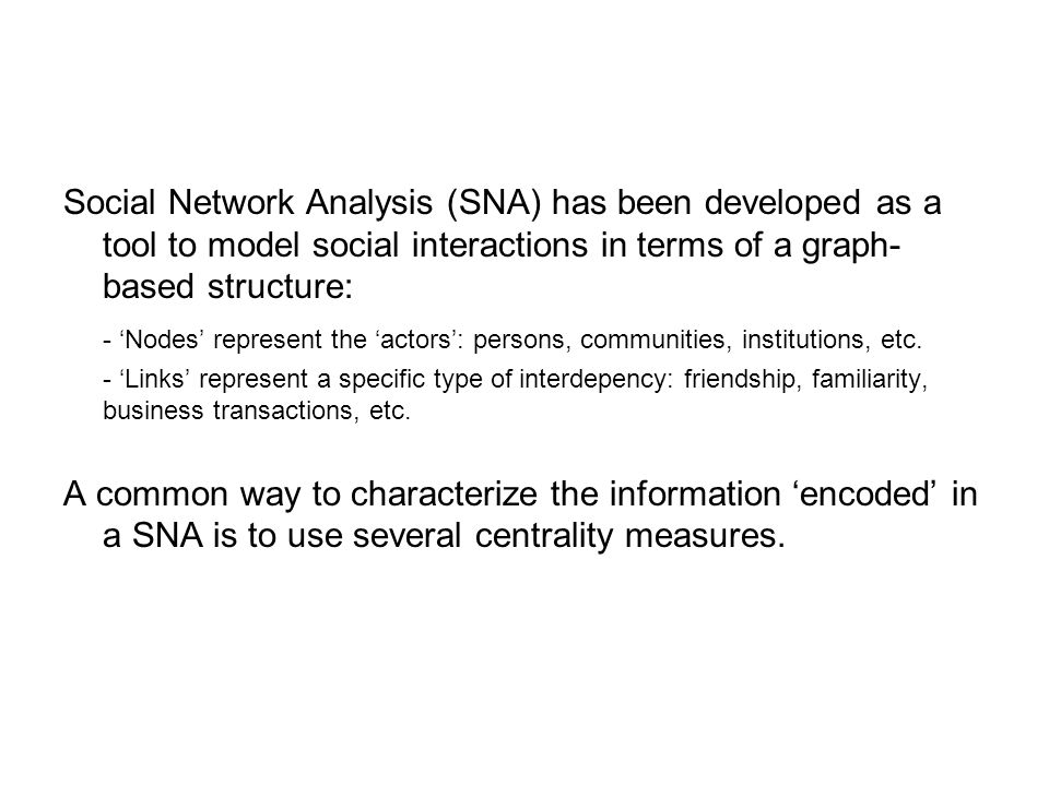 Our contribution: -In this work, we propose an integrated framework for extraction and analysis of a SNA from multimodal (A/V) dyadic interactions* -The advantage is represented by the fact that it is based on a totally non-intrunsive technology -First: we perform speech segmentation through an audio/visual fusion scheme - In the audio domain, speech is detected through clusterization of audio features - In the visual domain, speech is detected through differential-based feature extraction from the segmented mouth region - The fusion scheme is based on stacked sequential learning *We used a set of videos belonging to the New York Times' Blogging heads opinion blog.