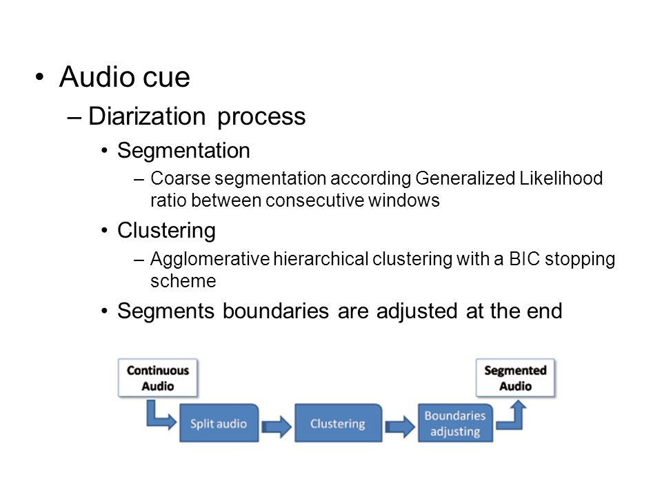 Audio cue –Diarization process Segmentation –Coarse segmentation according Generalized Likelihood ratio between consecutive windows Clustering –Agglomerative hierarchical clustering with a BIC stopping scheme Segments boundaries are adjusted at the end