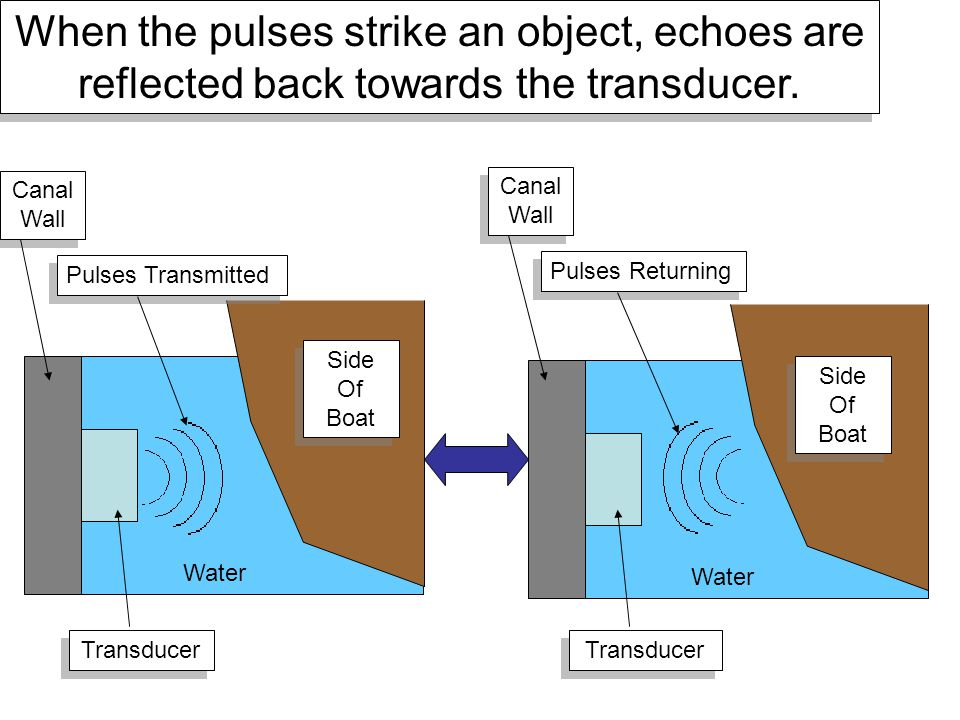 When the pulses strike an object, echoes are reflected back towards the transducer.