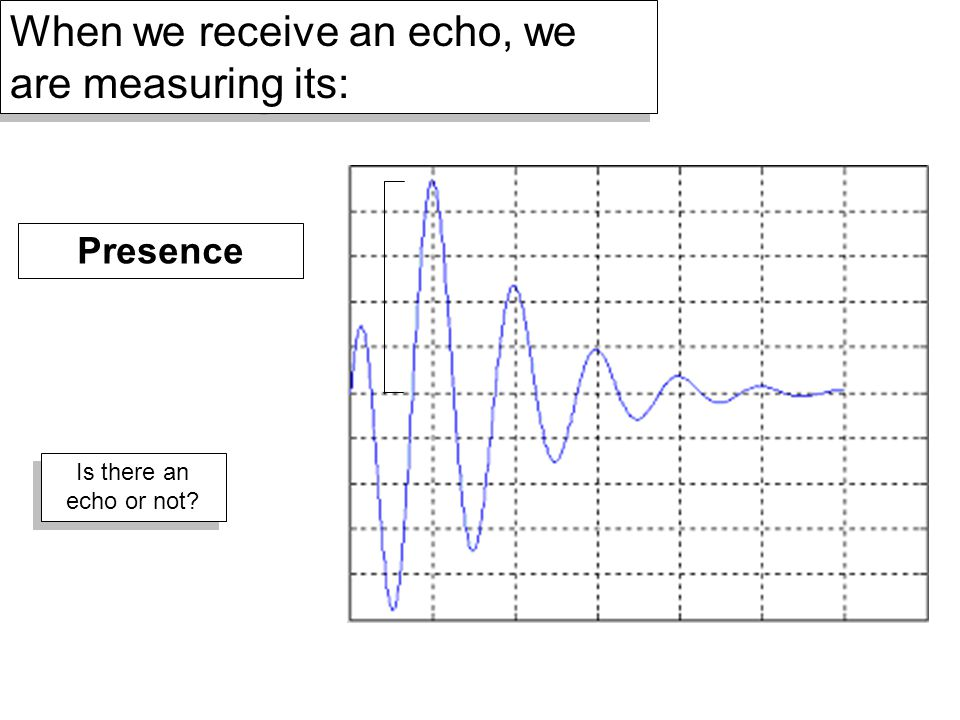 When we receive an echo, we are measuring its: Presence Is there an echo or not?