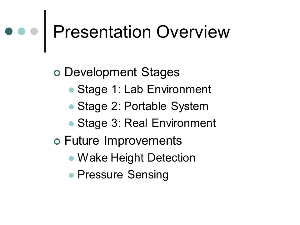 Presentation Overview Development Stages Stage 1: Lab Environment Stage 2: Portable System Stage 3: Real Environment Future Improvements Wake Height Detection Pressure Sensing