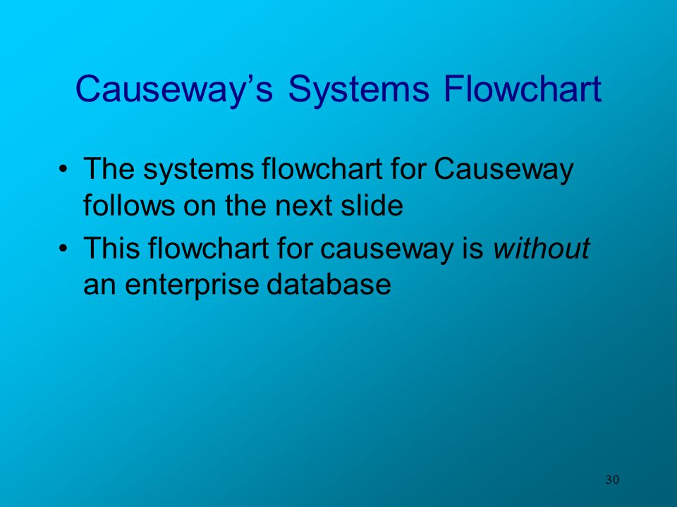 30 Causeway's Systems Flowchart The systems flowchart for Causeway follows on the next slide This flowchart for causeway is without an enterprise data