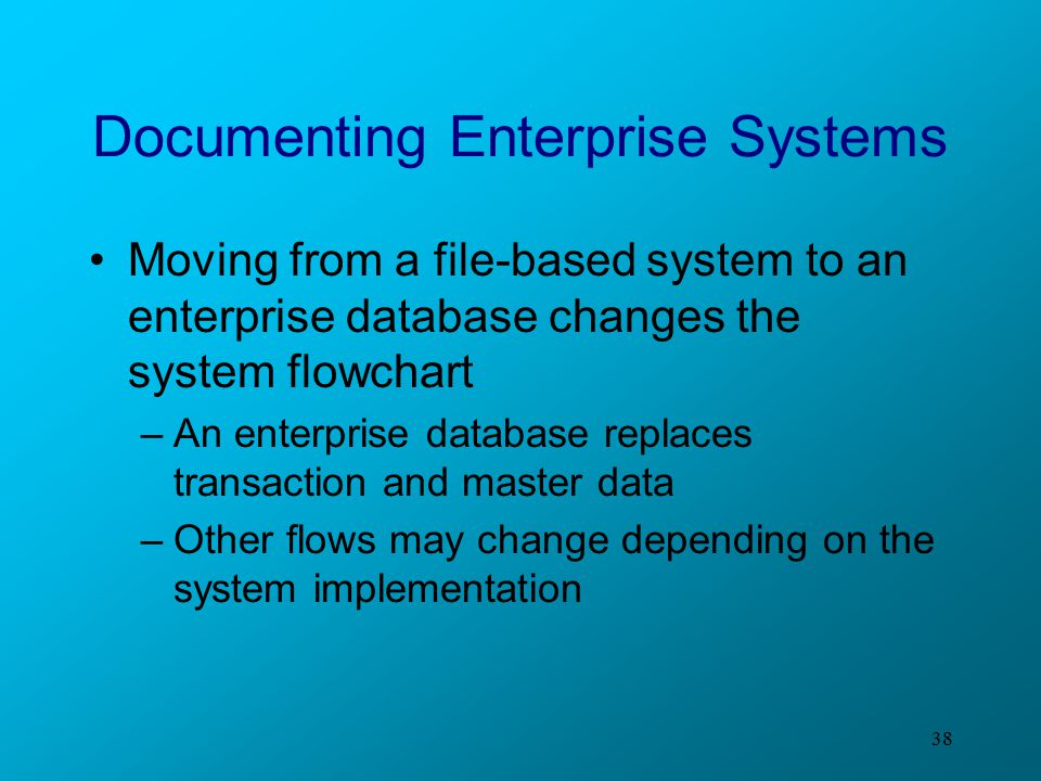 38 Documenting Enterprise Systems Moving from a file-based system to an enterprise database changes the system flowchart –An enterprise database repla
