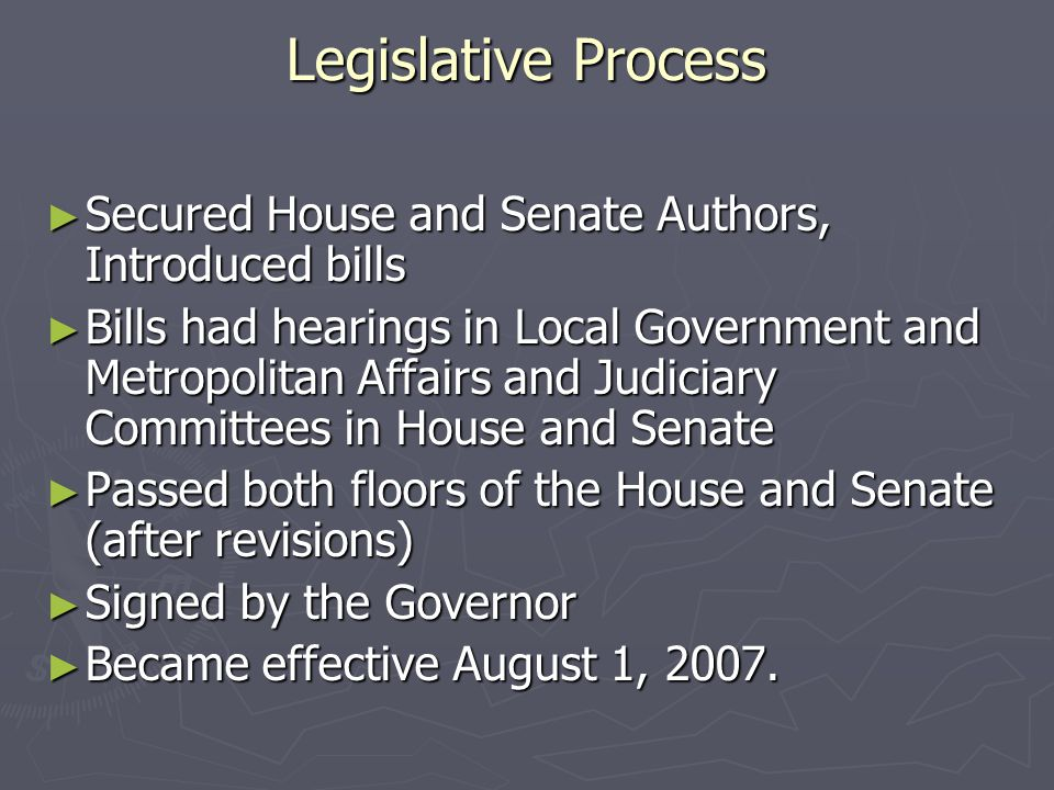 Legislative Process ► Secured House and Senate Authors, Introduced bills ► Bills had hearings in Local Government and Metropolitan Affairs and Judicia