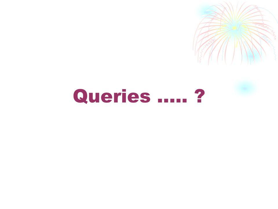 Queries ….. ?