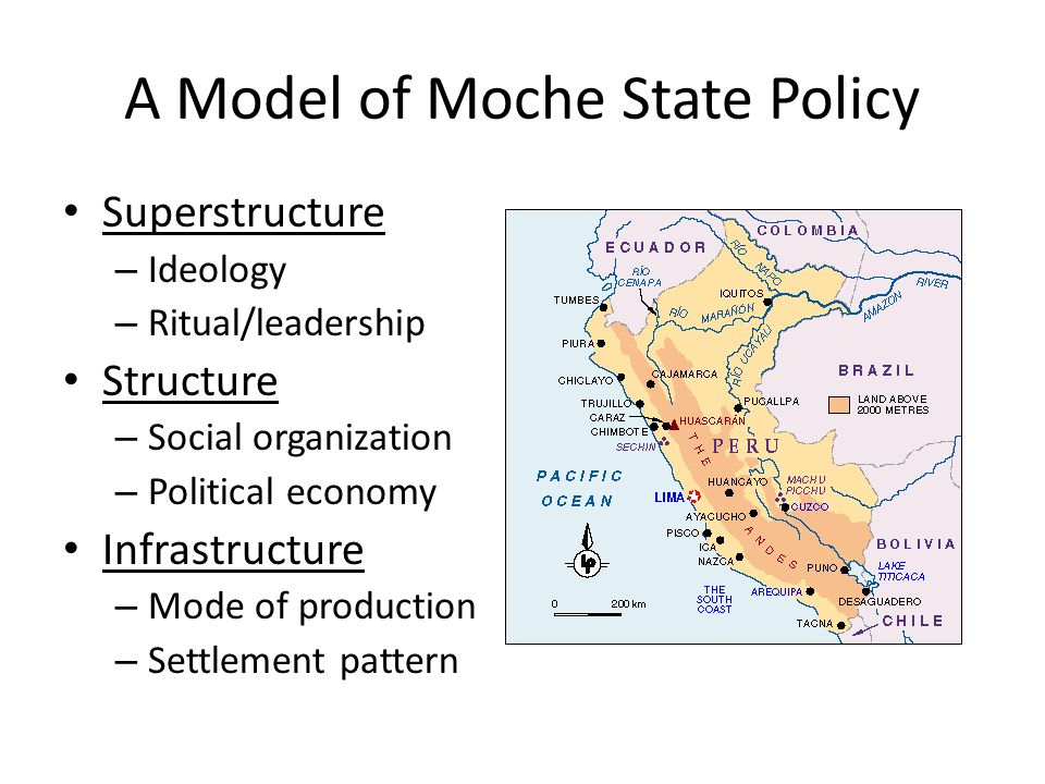 A Model of Moche State Policy Superstructure – Ideology – Ritual/leadership Structure – Social organization – Political economy Infrastructure – Mode of production – Settlement pattern
