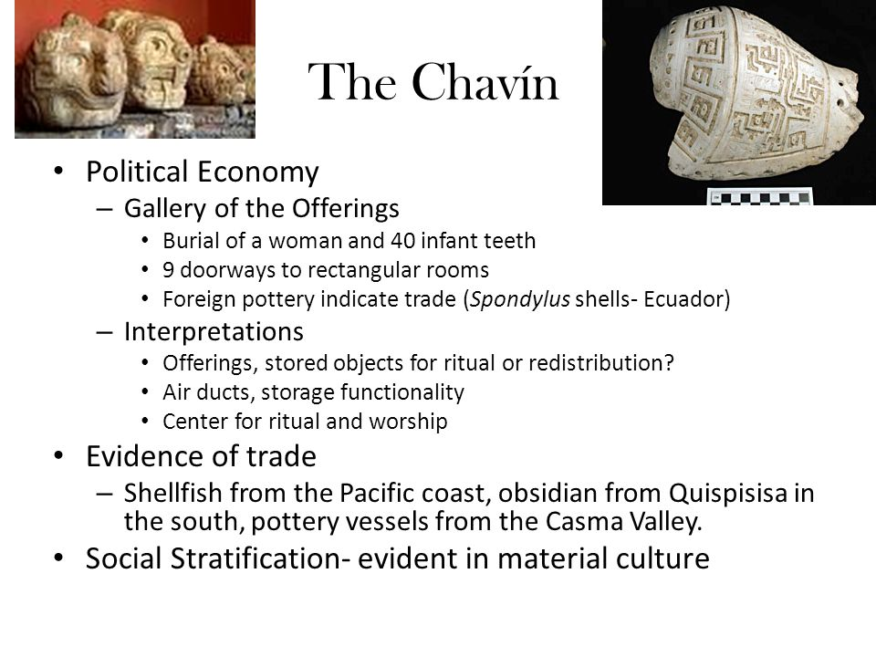 The Chavín Political Economy – Gallery of the Offerings Burial of a woman and 40 infant teeth 9 doorways to rectangular rooms Foreign pottery indicate trade (Spondylus shells- Ecuador) – Interpretations Offerings, stored objects for ritual or redistribution.