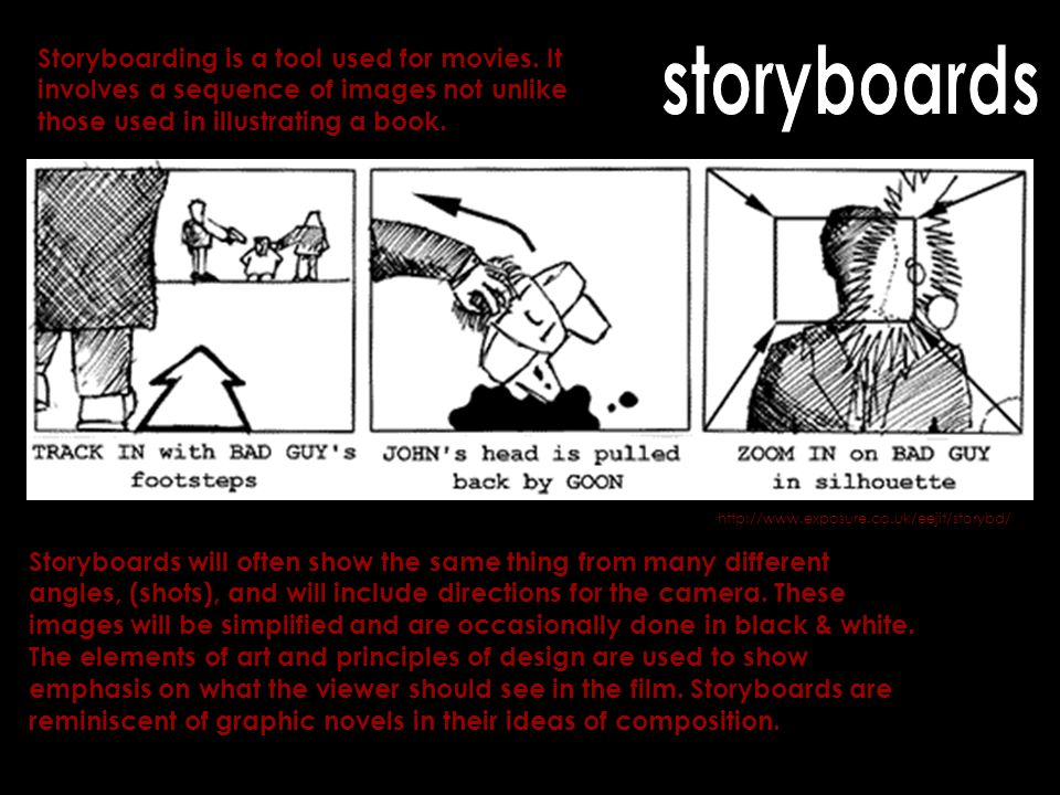 http://www.exposure.co.uk/eejit/storybd/ Storyboarding is a tool used for movies. It involves a sequence of images not unlike those used in illustrati