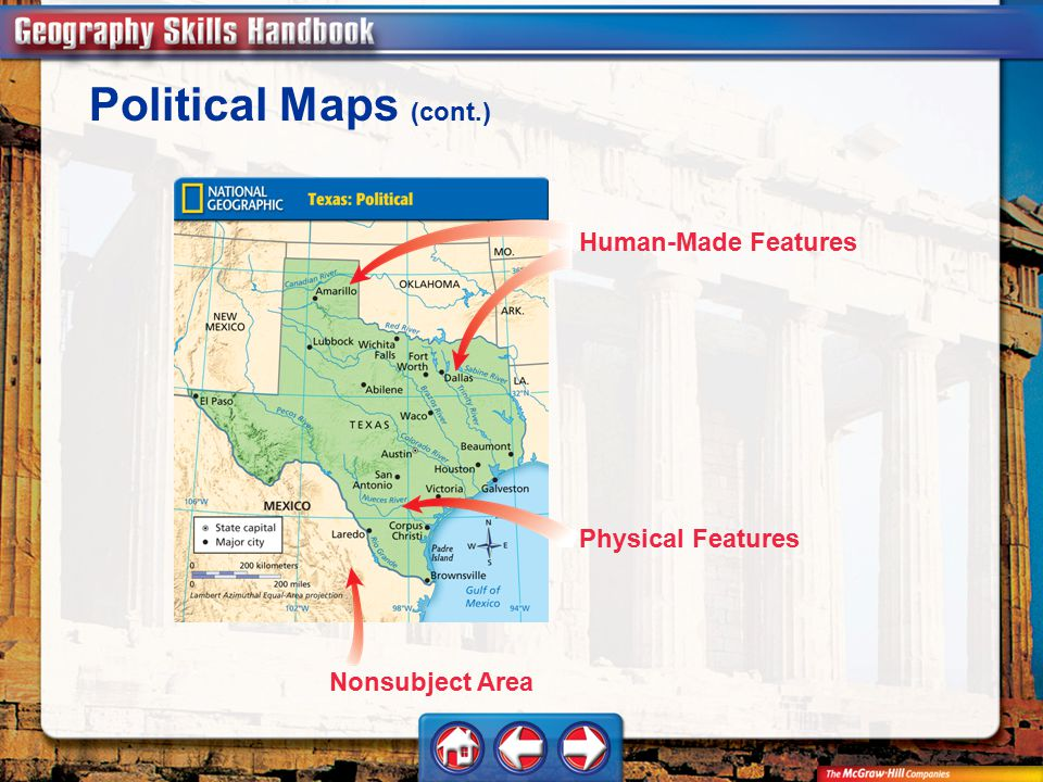 Geography Handbook Political Maps (cont.) Nonsubject Area Physical Features Human-Made Features