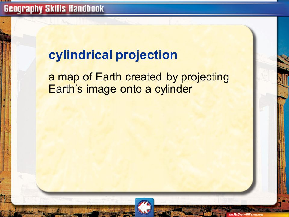 Vocab7 cylindrical projection a map of Earth created by projecting Earth's image onto a cylinder