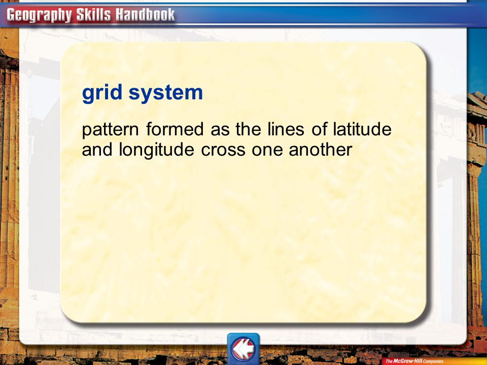 Vocab11 grid system pattern formed as the lines of latitude and longitude cross one another