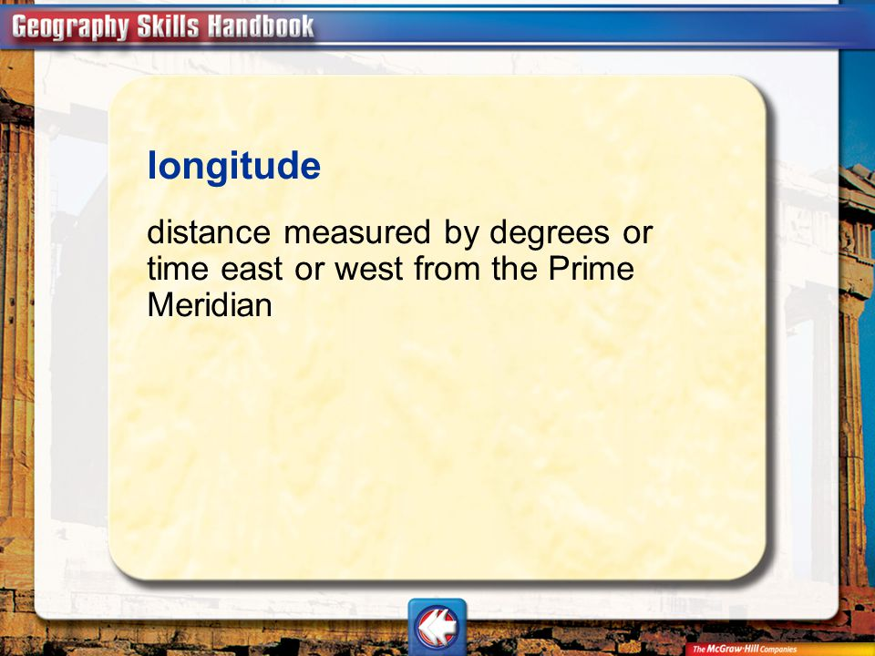 Vocab14 longitude distance measured by degrees or time east or west from the Prime Meridian