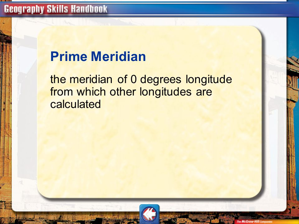 Vocab15 Prime Meridian the meridian of 0 degrees longitude from which other longitudes are calculated