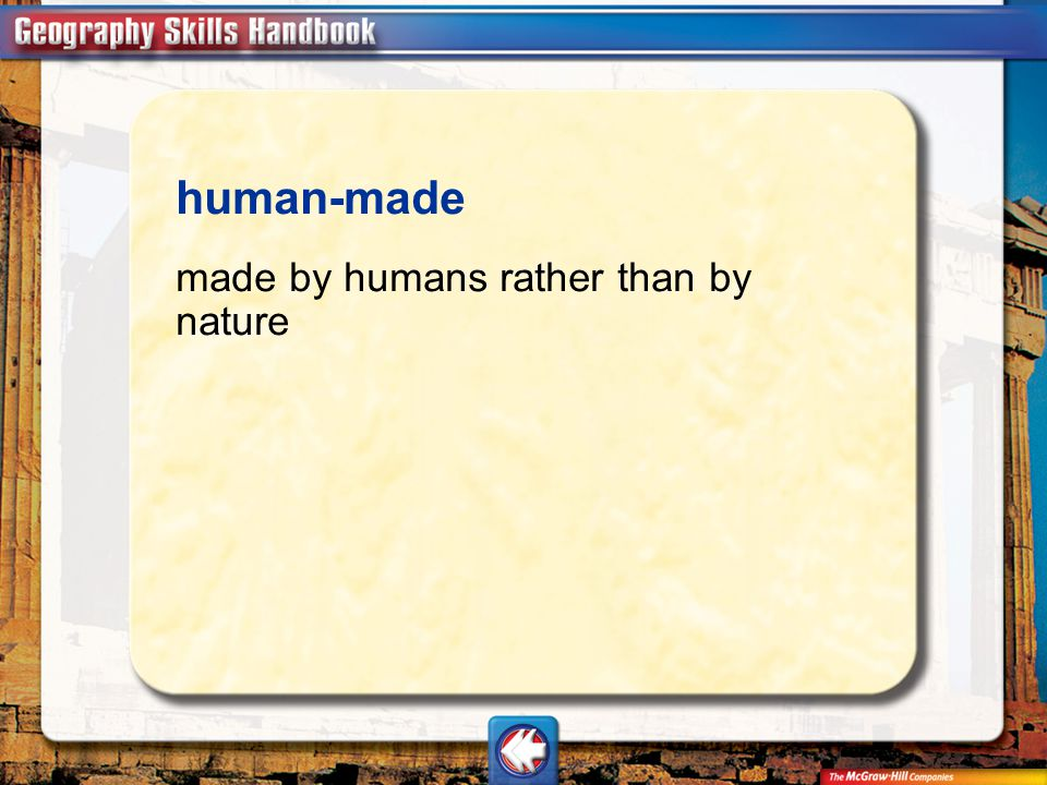 Vocab26 human-made made by humans rather than by nature