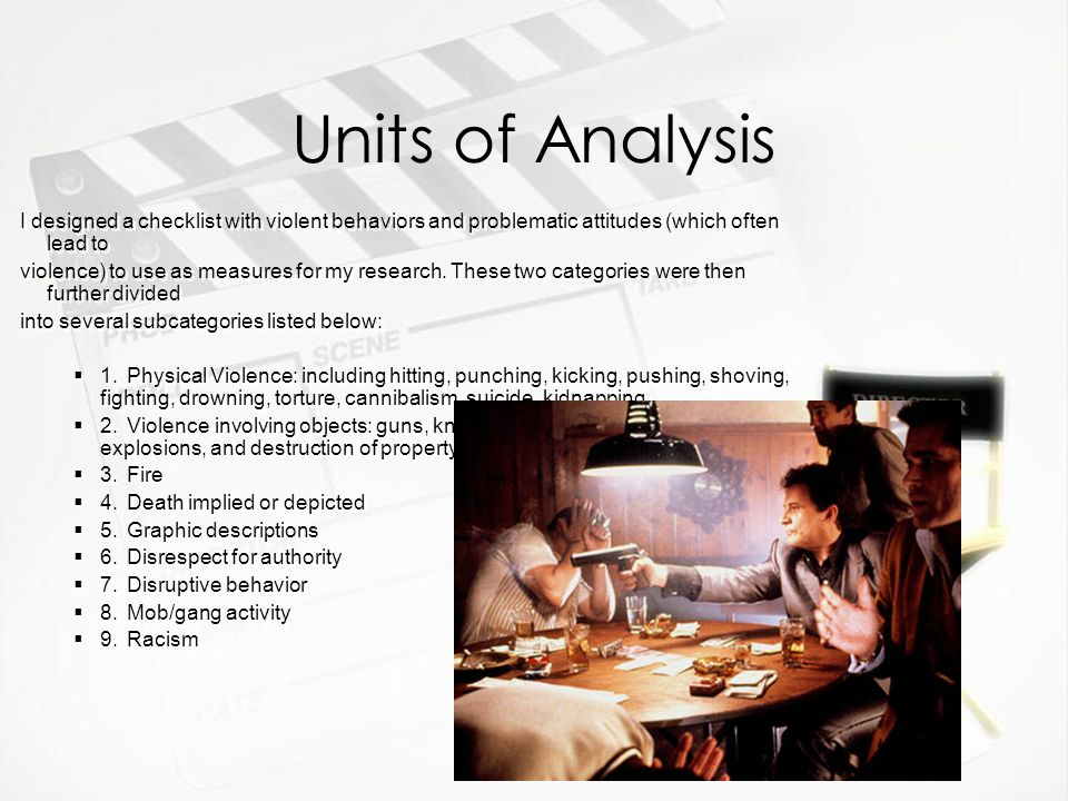 Units of Analysis I designed a checklist with violent behaviors and problematic attitudes (which often lead to violence) to use as measures for my res