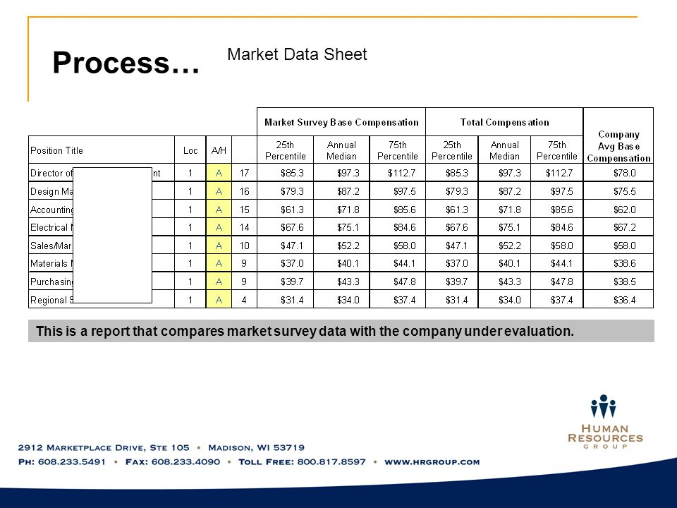 Process… Market Data Sheet This is a report that compares market survey data with the company under evaluation.