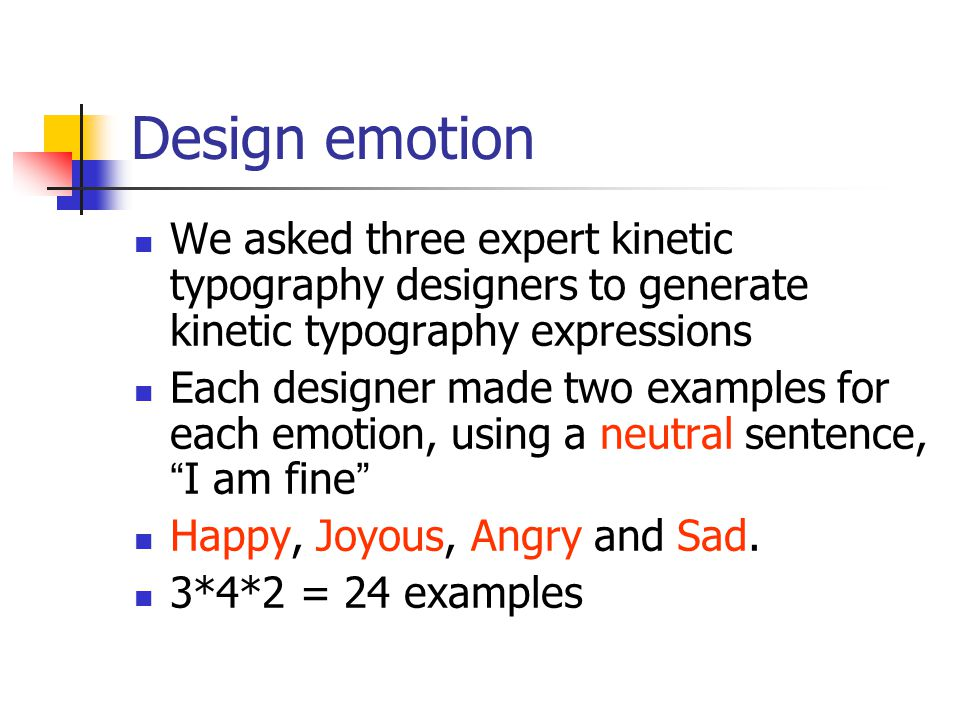 Design emotion We asked three expert kinetic typography designers to generate kinetic typography expressions Each designer made two examples for each