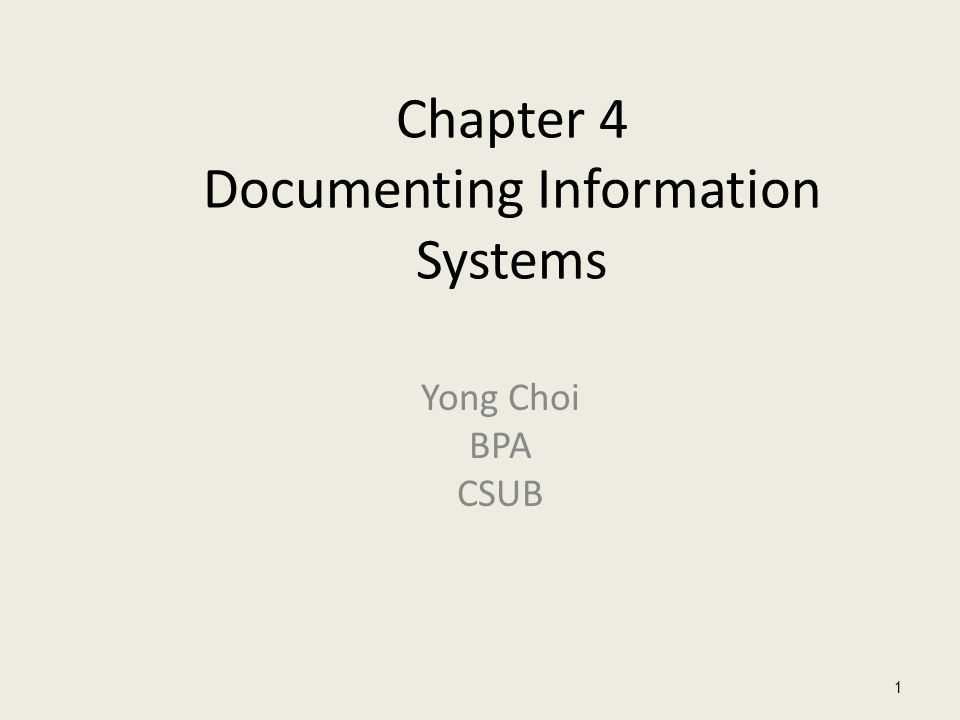 Chapter 4 Documenting Information Systems Yong Choi BPA CSUB 1