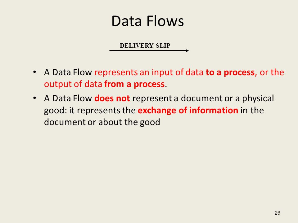 Data Flows A Data Flow represents an input of data to a process, or the output of data from a process. A Data Flow does not represent a document or a