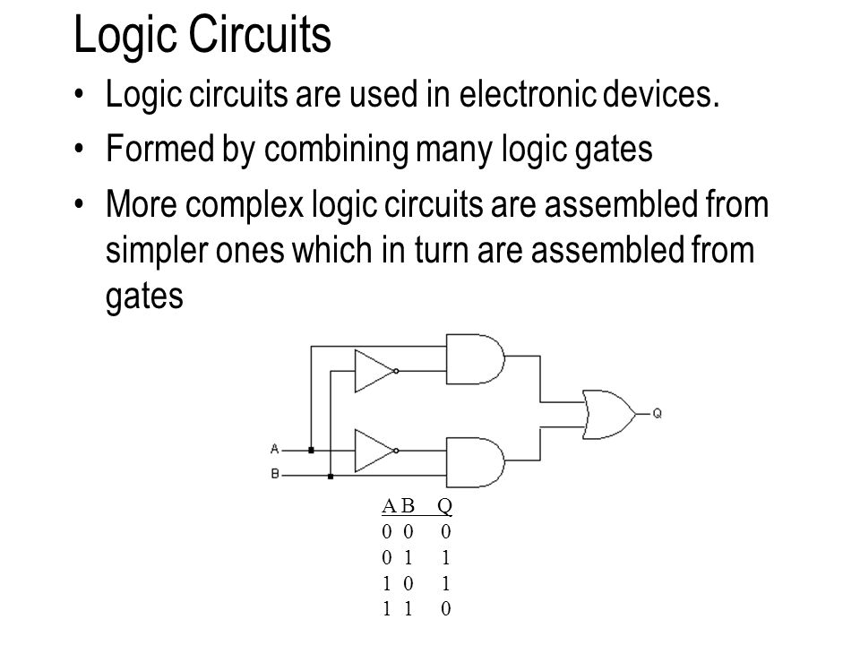 Logic Circuits Logic circuits are used in electronic devices.