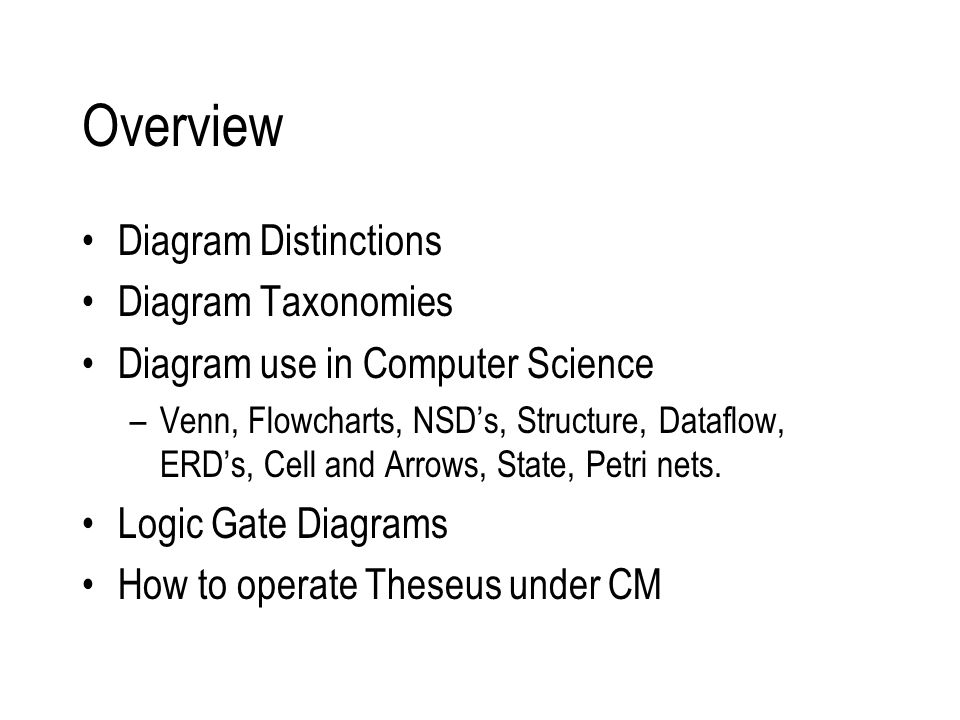 Overview Diagram Distinctions Diagram Taxonomies Diagram use in Computer Science –Venn, Flowcharts, NSD's, Structure, Dataflow, ERD's, Cell and Arrows, State, Petri nets.