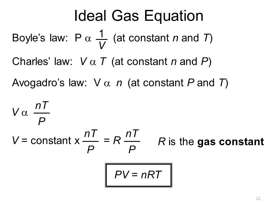 12 Ideal Gas Equation Charles' law: V  T  (at constant n and P) Avogadro's law: V  n  (at constant P and T) Boyle's law: P  (at const