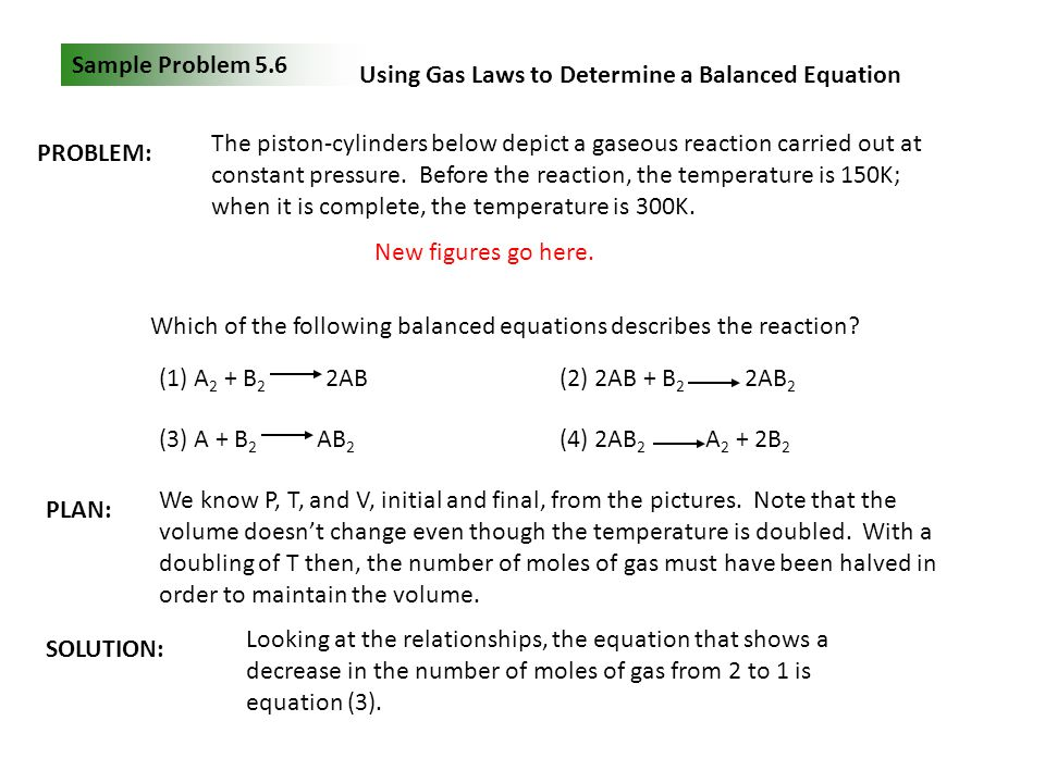 Sample Problem 5.6 Using Gas Laws to Determine a Balanced Equation PROBLEM: The piston-cylinders below depict a gaseous reaction carried out at consta