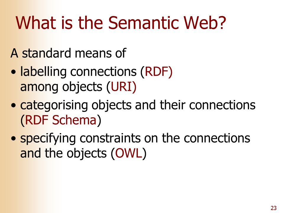 23 What is the Semantic Web.