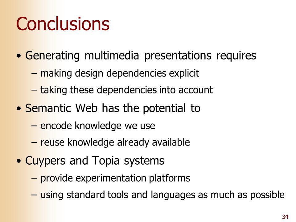 34 Conclusions Generating multimedia presentations requires –making design dependencies explicit –taking these dependencies into account Semantic Web