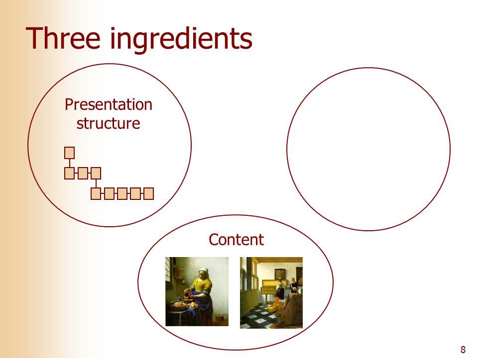 8 Three ingredients Content Presentation structure