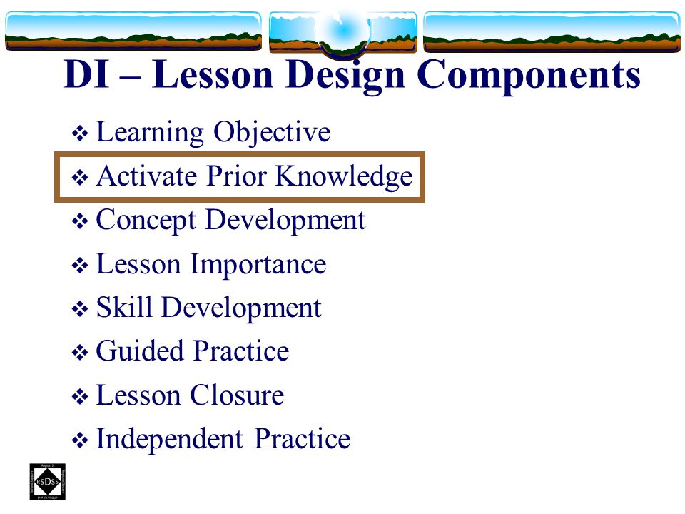 DI – Lesson Design Components LLearning Objective AActivate Prior Knowledge CConcept Development LLesson Importance SSkill Development GGu