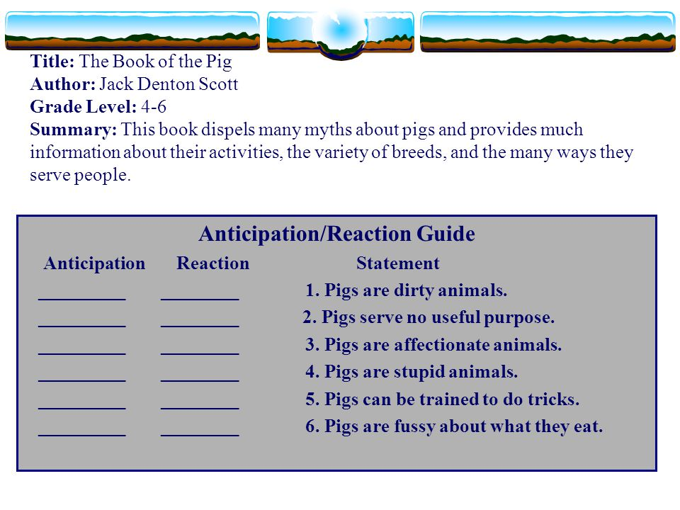 Title: The Book of the Pig Author: Jack Denton Scott Grade Level: 4-6 Summary: This book dispels many myths about pigs and provides much information a