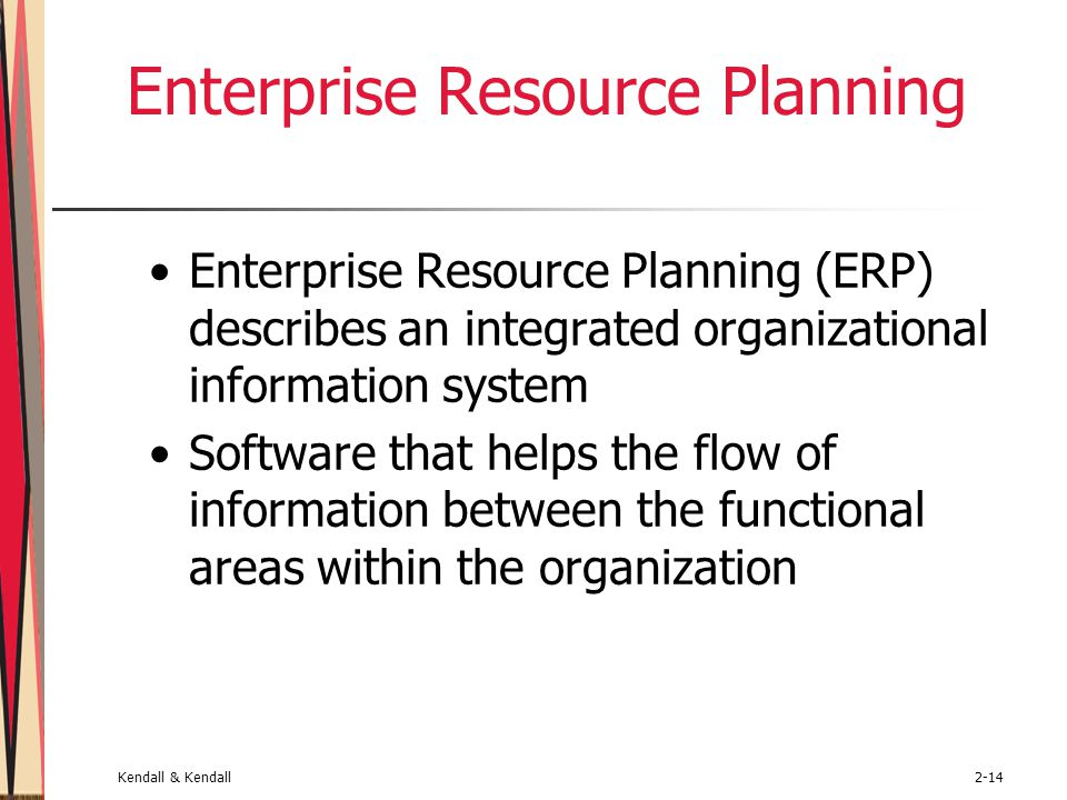 Kendall & Kendall2-14 Enterprise Resource Planning Enterprise Resource Planning (ERP) describes an integrated organizational information system Software that helps the flow of information between the functional areas within the organization