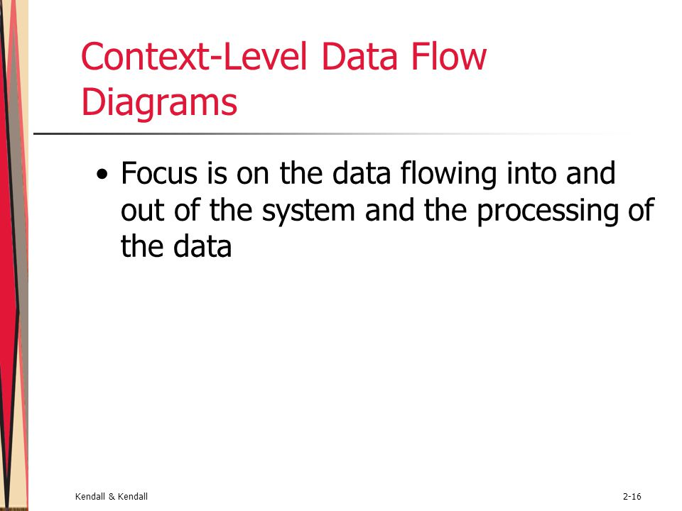 Kendall & Kendall2-16 Context-Level Data Flow Diagrams Focus is on the data flowing into and out of the system and the processing of the data