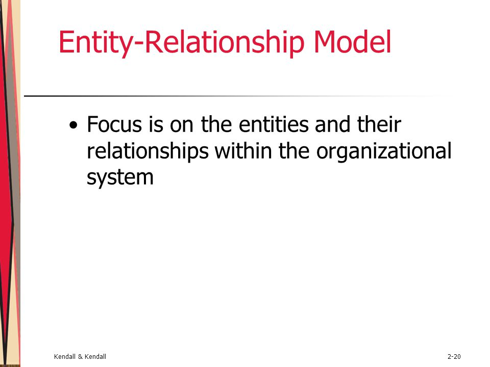 Kendall & Kendall2-20 Entity-Relationship Model Focus is on the entities and their relationships within the organizational system
