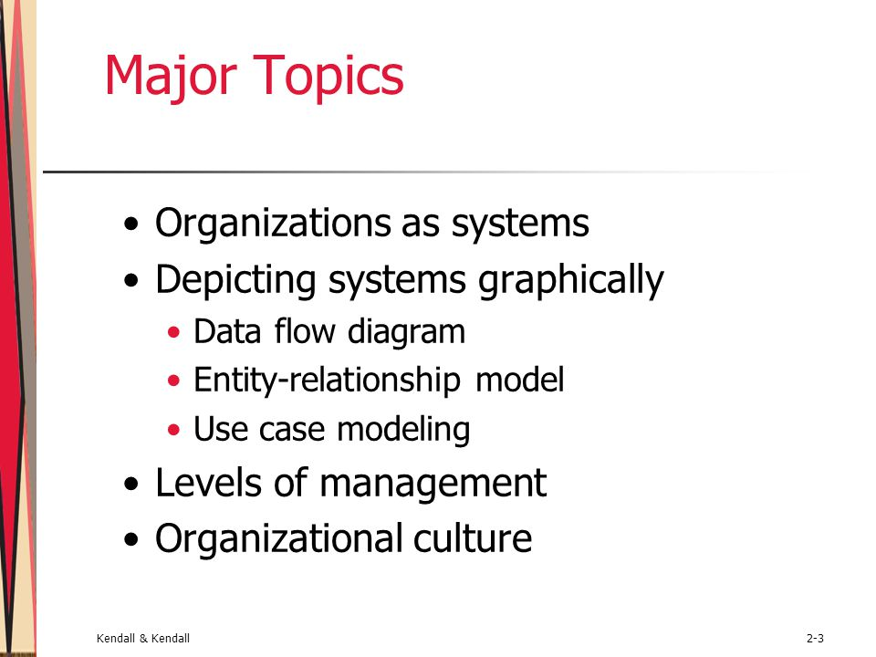 Kendall & Kendall2-3 Major Topics Organizations as systems Depicting systems graphically Data flow diagram Entity-relationship model Use case modeling Levels of management Organizational culture