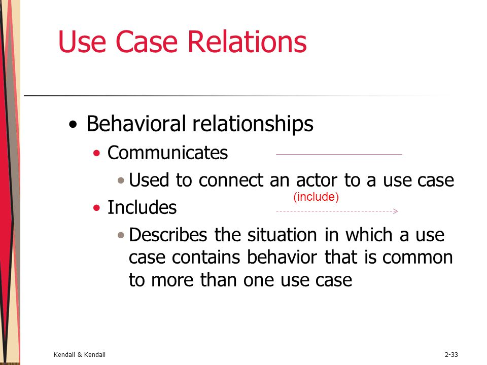 Kendall & Kendall2-33 Use Case Relations Behavioral relationships Communicates Used to connect an actor to a use case Includes Describes the situation in which a use case contains behavior that is common to more than one use case (include)