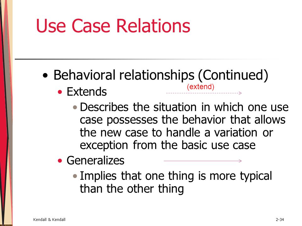 Kendall & Kendall2-34 Use Case Relations Behavioral relationships (Continued) Extends Describes the situation in which one use case possesses the beha