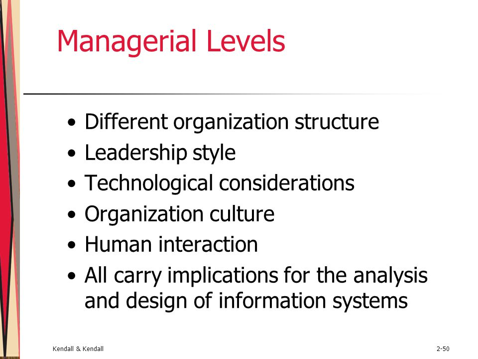 Kendall & Kendall2-50 Managerial Levels Different organization structure Leadership style Technological considerations Organization culture Human inte