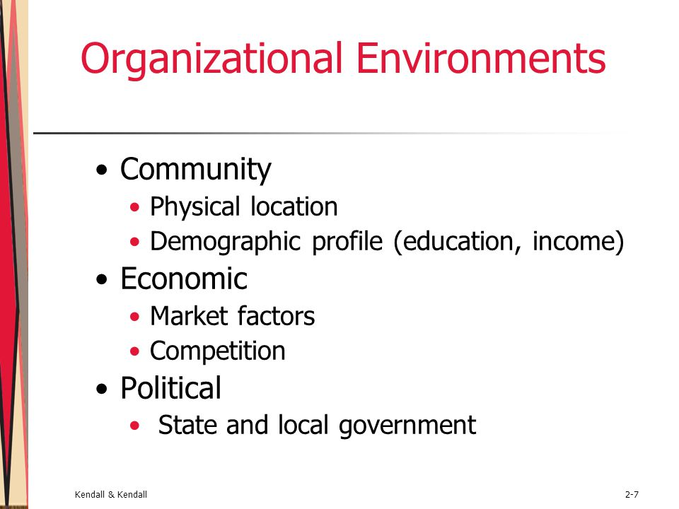 Kendall & Kendall2-7 Organizational Environments Community Physical location Demographic profile (education, income) Economic Market factors Competiti